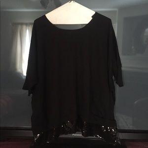 BCBGeneration Black Short Sleeve Sequin Sweater, L